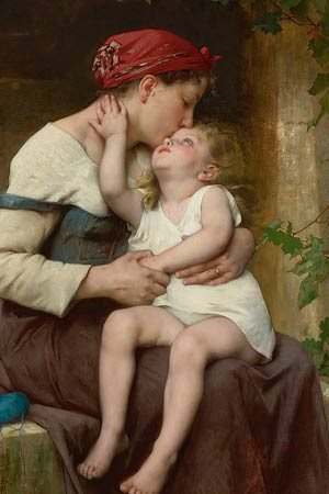 Detail from Léon Perrault's 1894 painting depicting a mother wearing a red kerchief and simple peasant dress kissing her child who is seated on her lap.