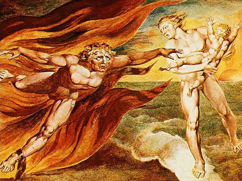 Painting by William Blake entitled The Good and Evil Angels, showing a good angel, in white, protecting a child from an evil angel in red.
