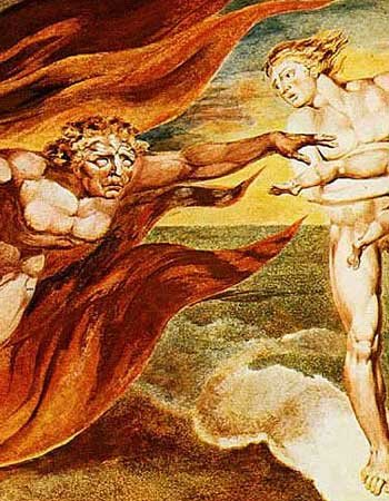 Detail from William Blake's painting, The Good and Evil Angels.