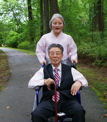 The author with his second wife, Kim Hyun-ja.