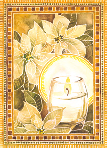painting of candle and white pointsettias