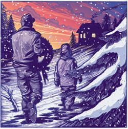 painting of a father and child carrying a wreath home through the snow