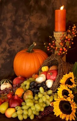 Thanksgiving cornucopia of fruits and vegetables