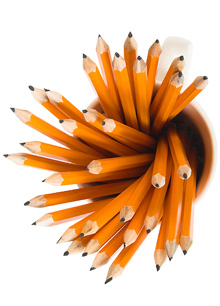 A cup full of pencils
