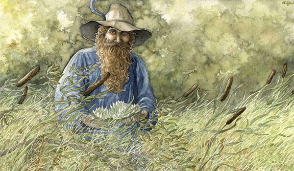 pintura en acuarela de Tom Bombadil de The Fellowship of the Ring