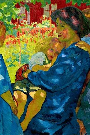 Detail from Giovanni Giacometti's painting, Under the elder tree, depicting a woman surrounded by children.