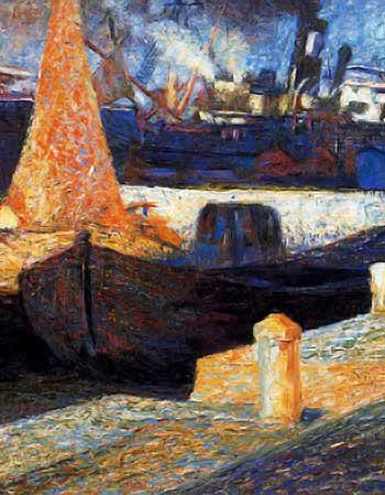 painting of boats in harbor