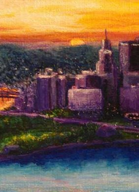 a painting of the Pittsburgh skyline at sunset by Rachel Rodkey