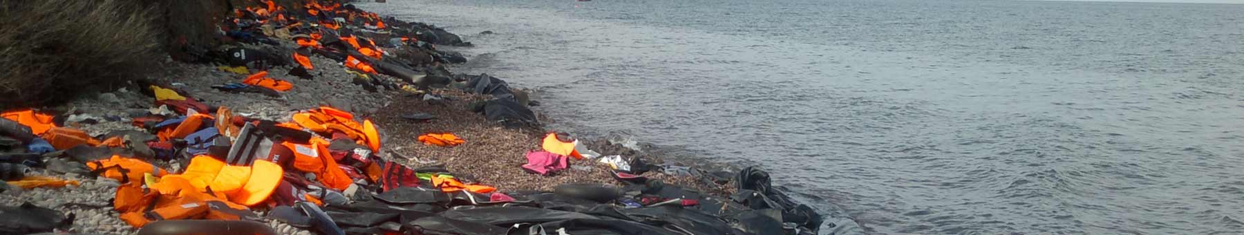 Life jackets discarded on the beach at Lesbos, Greece.