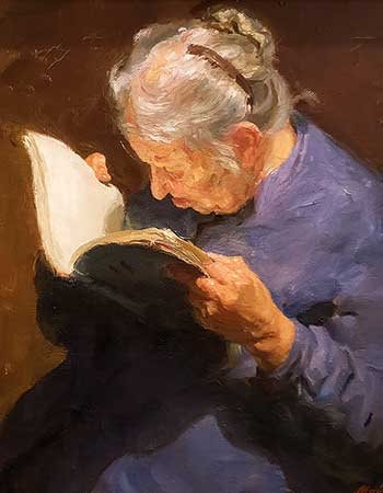 Painting of an elderly woman reading a book