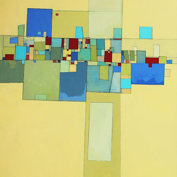 Deborah Batt, Community, detail. Painting of geometric shapes in red, blue, and yellow.