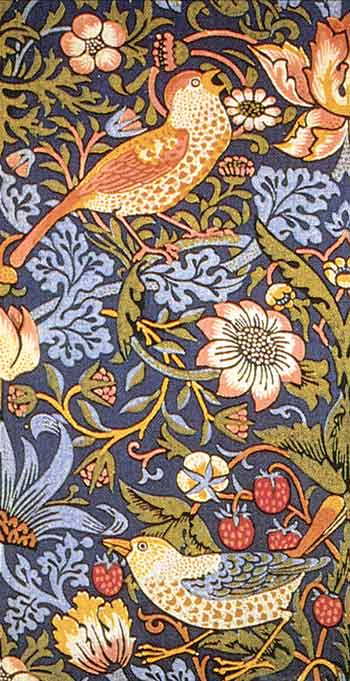 detail from William Morris, Strawberry Thief, printed textile, 1883