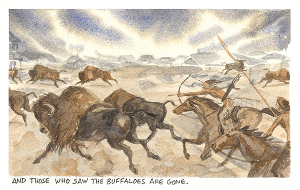 a watercolor painting of native americans hunting buffalo on a prairie