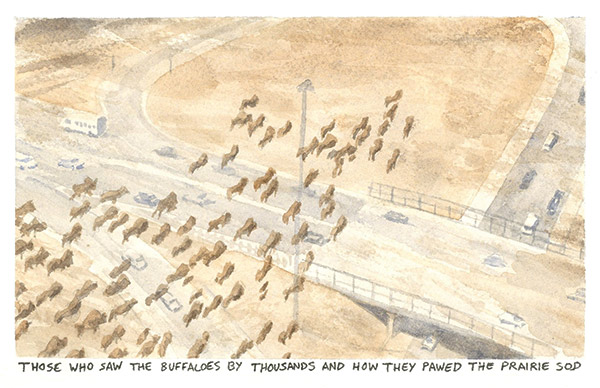 a watercolor painting of a buffalo herd near an interstate highway