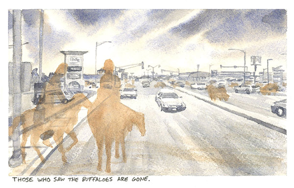 a watercolor painting of silhouettes of men on horseback on a busy city road