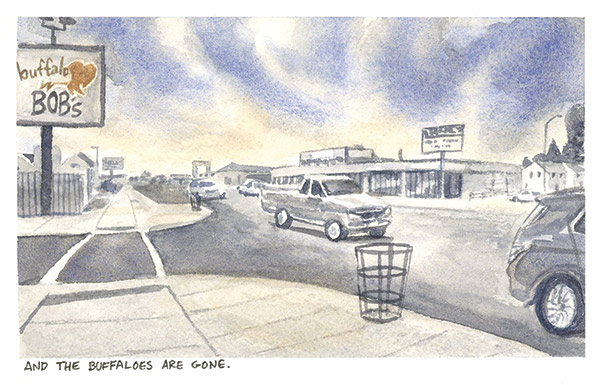 a watercolor painting of cars and pickups driving on a road