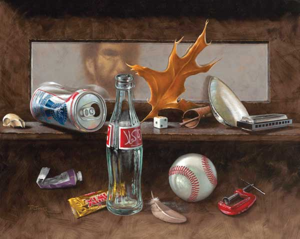 Painting of Curios: Beer can, dice, shell, harmonica, brown leaf