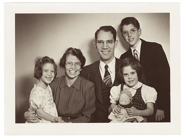 Tom Potts and his family in a sepia photo