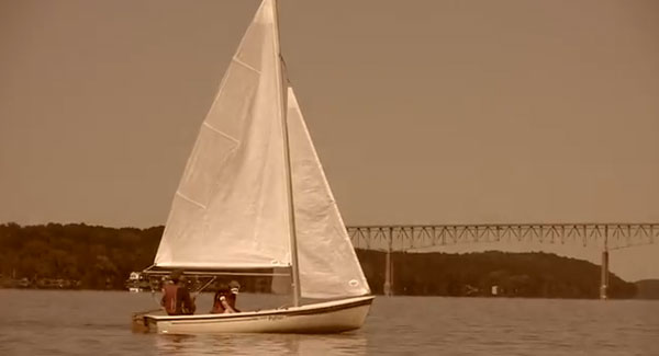 image of a sailboat on the Hudson River Watch the video for Rich In Years.